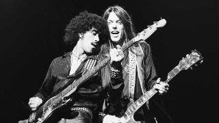 Phil Lynott and Scott Gorham onstage at Hammersmith Odeon, London, in 1978