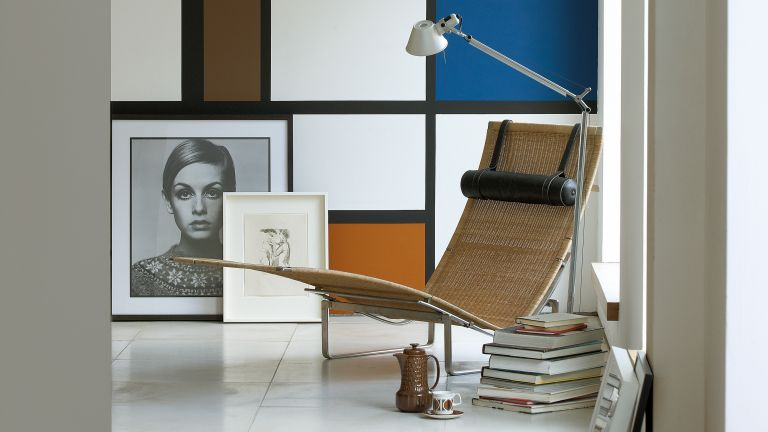 Retro style abstract living room with photograph and books