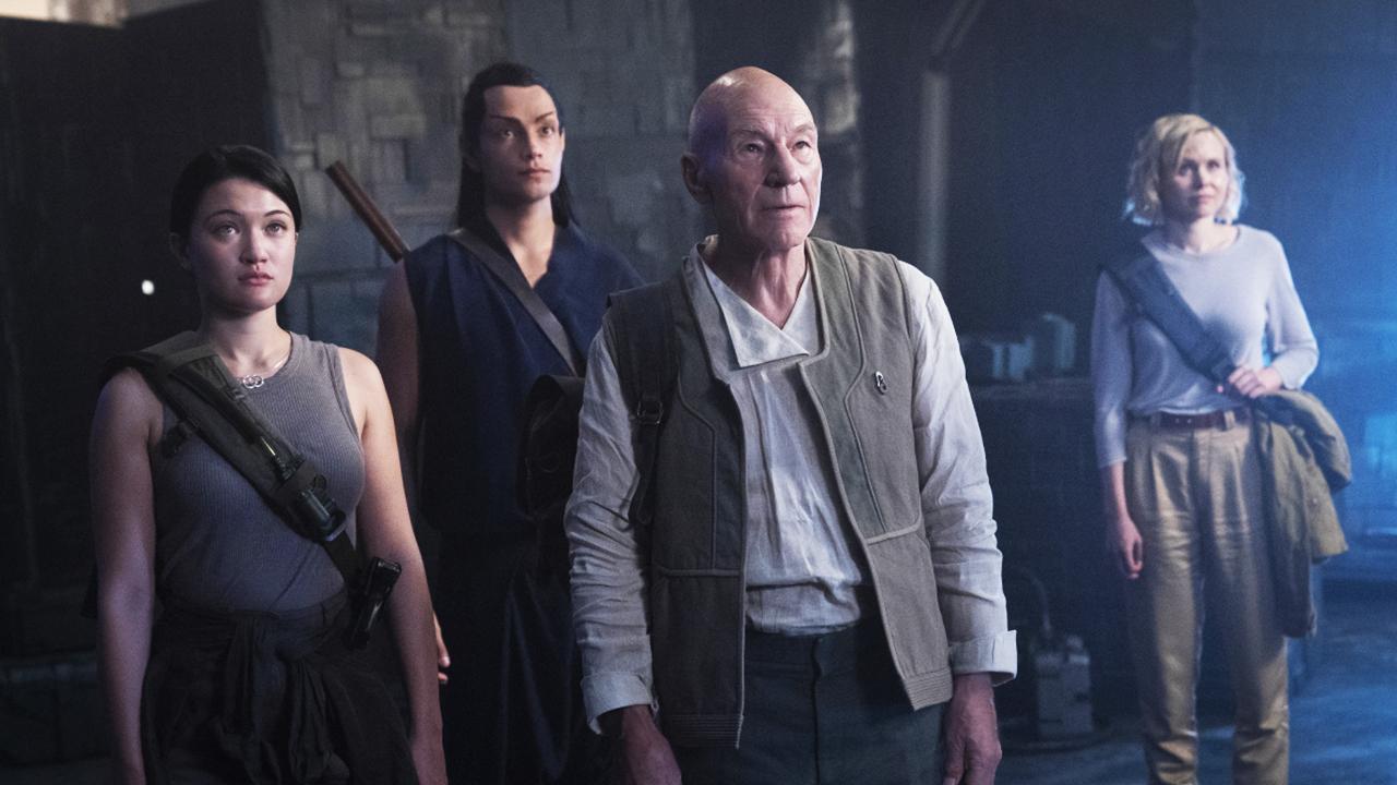 Jean-Luc Picard with his new crew: Soji Asha, Elnor and Dr Agnes Jurati.