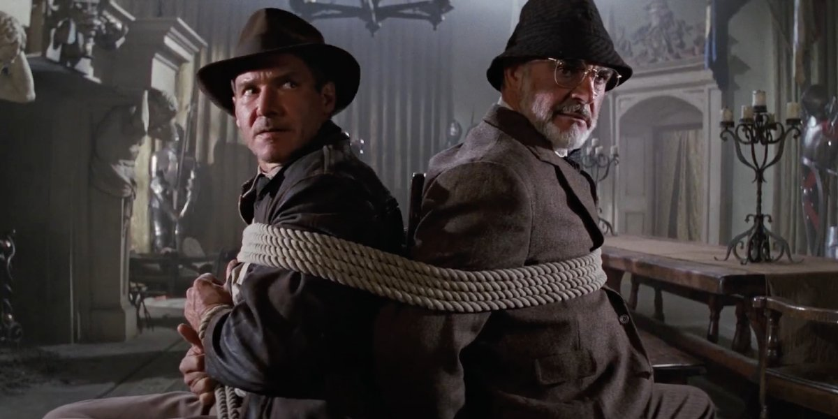 Harrison Ford as Indiana Jones and Sean Connery as Henry Jones in Indiana Jones and the Last Crusade