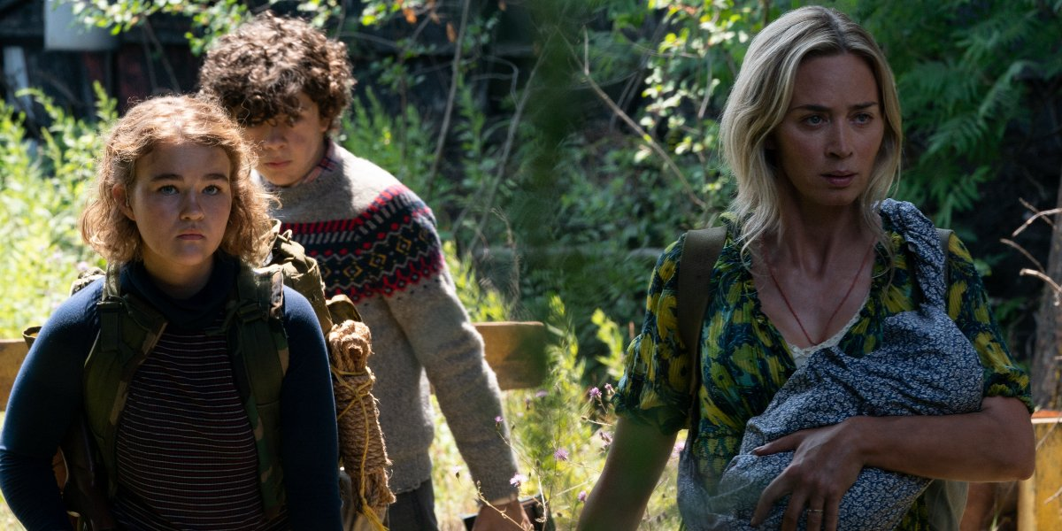 Millicent Simmonds, Noah Jupe, and Emily Blunt walking through the woods in A Quiet Place Part II.