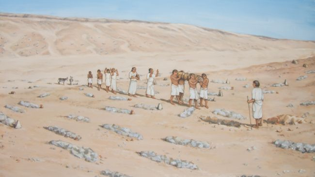A reconstruction of the cemetery at Amarna where the woman with head cone was buried. She and the other people in the cemetery appear to have been of modest means. Study of her bones revealed that she did labor intensive work and suffered from shortages of food at times in her life.
