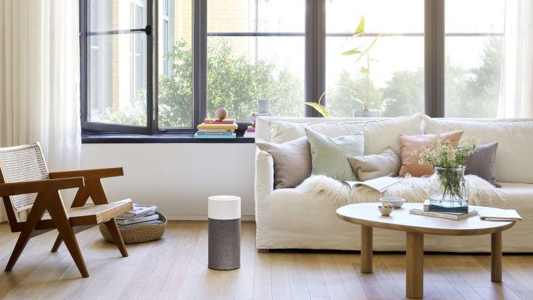 best air purifier: Blueair Blue 3210 in bright living room beside cream sofa