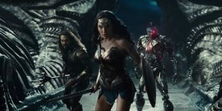 Aquaman Wonder Woman and Cyborg in Justice League