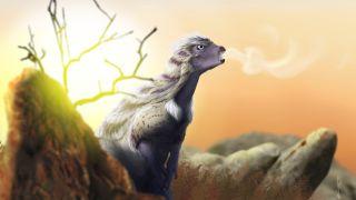 Life reconstruction of Heterodontosaurus vocalizing on a cool Jurassic morning.