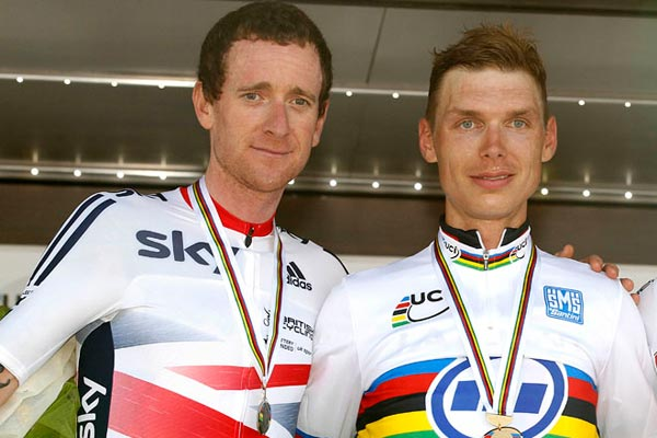 Bradley Wiggins and Tony Martin, men's TT podium, Road World Champs 2013