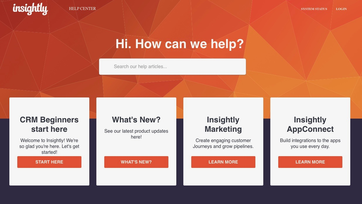 Insightly's customer help centre