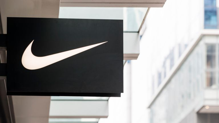 Nike logo is seen outside of their retail store.