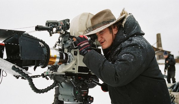 Quentin Tarantino looking through the camera on The Hateful Eight