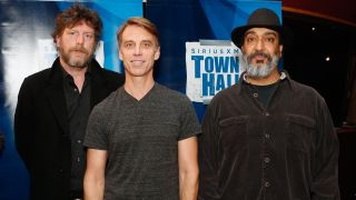 """Ben Shepherd, Matt Cameron and Kim Thayil of Soundgarden pose at """"SiriusXM's Town Hall With Soundgarden"""" at Electric Lady Studio on November 14, 2012 in New York City."""