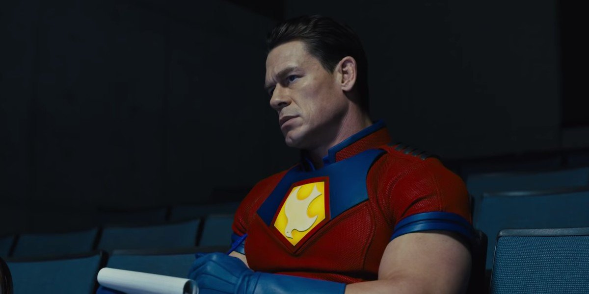 Peacemaker (John Cena) is briefed in The Suicide Squad (2021)