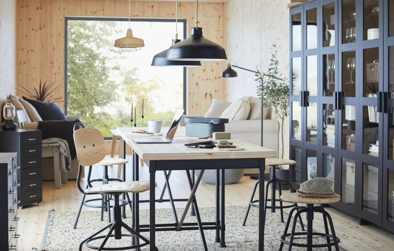 Home office lighting: pendant lights over a dining table