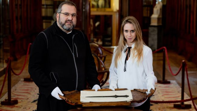 The ancient sword was spotted in the monastery museum on San Lazzaro degli Armeni by doctoral student Vittoria Dall'Armellia. Father Serafino Jamourlian researched how it got there.