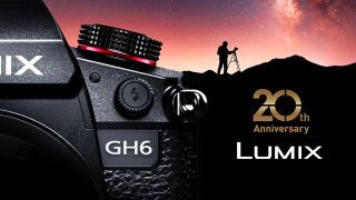 A launch invite for the Lumix anniversary with a photo of the Panasonic GH6
