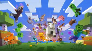Minecraft Update 1.17 splash art: lots of Minecraft mobs all leap outwards from a landscape: goat, cow, skeletons, asolotl, glow squid, and more