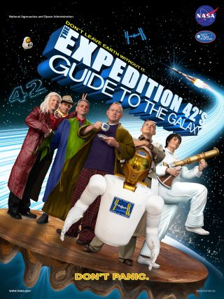 "The official crew poster for the International Space Station's 42nd expedition parodies ""The Hitchhiker's Guide to the Galaxy."""