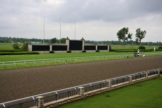 Horse racing track on a cloudy day