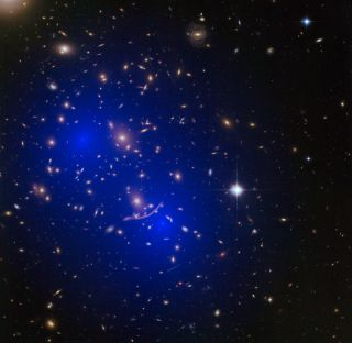 Galaxy Merger A370 Overlaid with Dark Matter