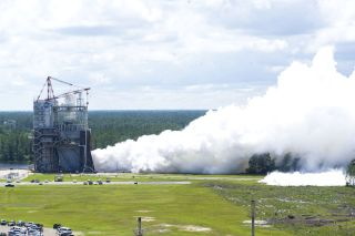 Space Launch System rocket fires at Stennis Space Center
