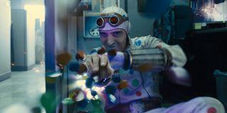 David Dastmalchian as Polka-Dot Man firing polka dots in The Suicide Squad