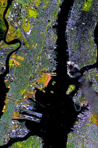 SPOT Satellite Images of World Trade Center Fires