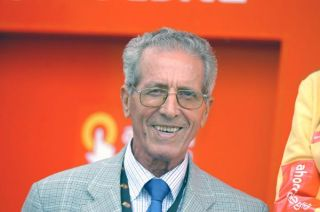 "Federico Bahamontes, the legendary ""Eagle of Toledo"", took part in the podium presentations."