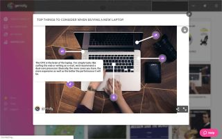 Screenshot: Use adds interactive elements to image of laptop computer