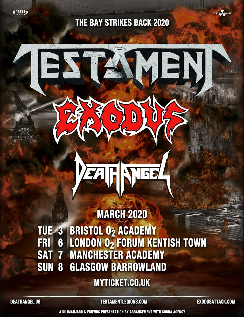 Testament, Death Angel and Exodus announce joint UK tour