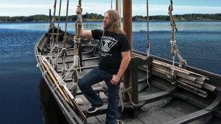 Johan Hegg on a Viking boat