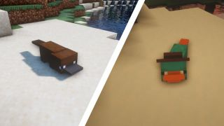 Two little platypuses in Minecraft.