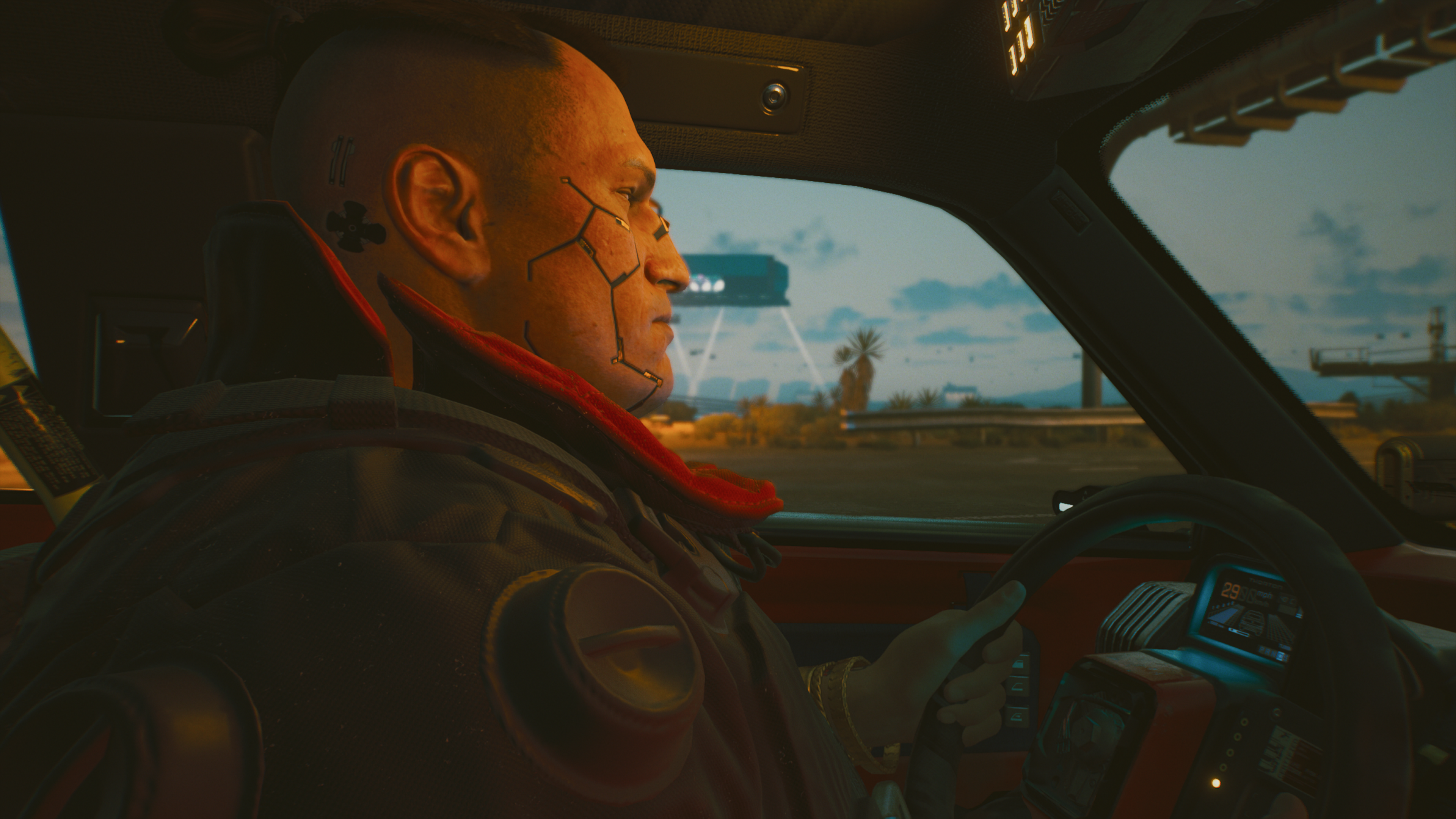 Cyberpunk 2077 driving photo