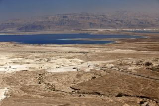an image of the Dead Sea and Jordan mountains