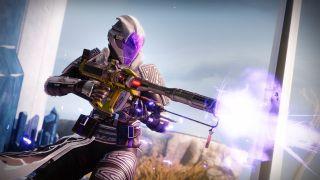 Destiny 2 Bungie image Season of the Lost warlock holding new Lorentz Driver Exotic Linear Fusion Rifle