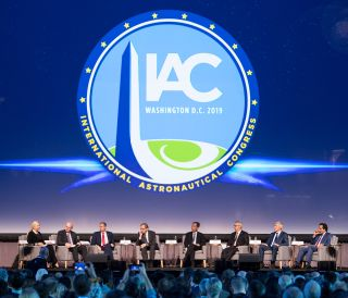 Heads of the world's space agencies convene at the 70th annual International Astronautical Congress in Washington, on Oct. 21, 2019. From left to right: Pascale Ehrenfreund, incoming president of the International Astronautical Federation (IAF); Jean-Yves Le Gall, current president of IAF; NASA Administrator Jim Bridenstine; Johann-Dietrich Woerner, Director General of the European Space Agency (ESA); Hiroshi Yamakawa, President of the Japan Aerospace Exploration Agency (JAXA); Sylvain Laporte, President of the Canadian Space Agency; Sergey Krikalev, Executive Director for Piloted Spaceflights for Roscosmos; and S. Somanath, Director of Vikram Sarabhai Space Centre, Indian Space Research Organization (ISRO)