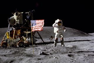 space history, nasa, astronaut salutes U.S. flag on the moon's surface