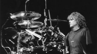 Def Leppard drummer Rick Allen playing his electronic drumkit