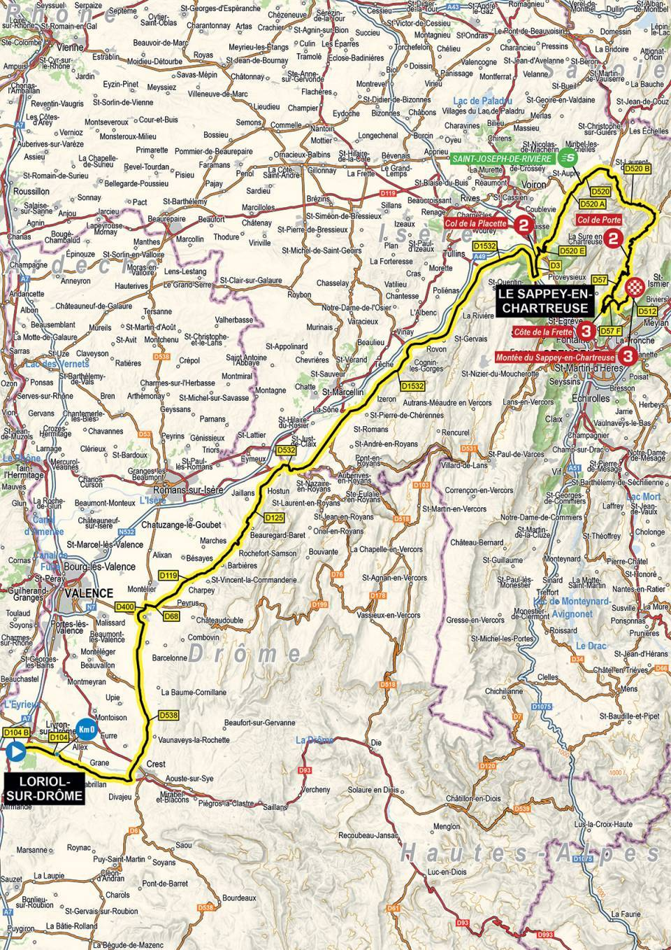 The map and profile of stage 6 of the 2021 Criterium du Dauphine