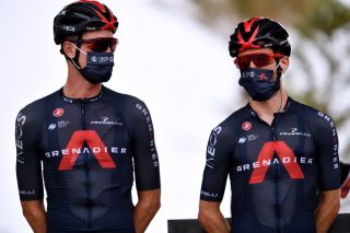 RINCON DE LA VICTORIA SPAIN AUGUST 24 LR Dylan Van Baarle of Netherlands and Adam Yates of United Kingdom and Team INEOS Grenadiers prior to the 76th Tour of Spain 2021 Stage 10 a 189km stage from Roquetas de Mar to Rincn de la Victoria lavuelta LaVuelta21 on August 24 2021 in Rincon De La Victoria Spain Photo by Stuart FranklinGetty Images