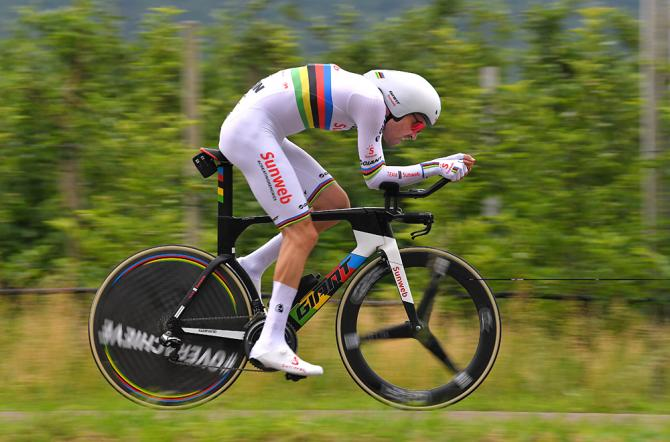World champion Tom Dumoulin (Sunweb) during the stage 16 time trial at the Giro d'Italia