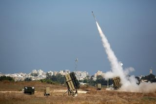 An Israeli Iron Dome missile is fired