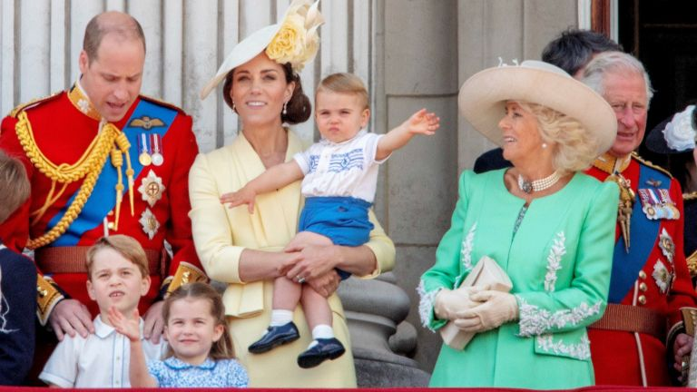 Trooping the Colour Prince Charles, Camilla Duchess of Cornwall, Prince William, Catherine Duchess of Cambridge, Prince George, Princess Charlot, Prince Louis