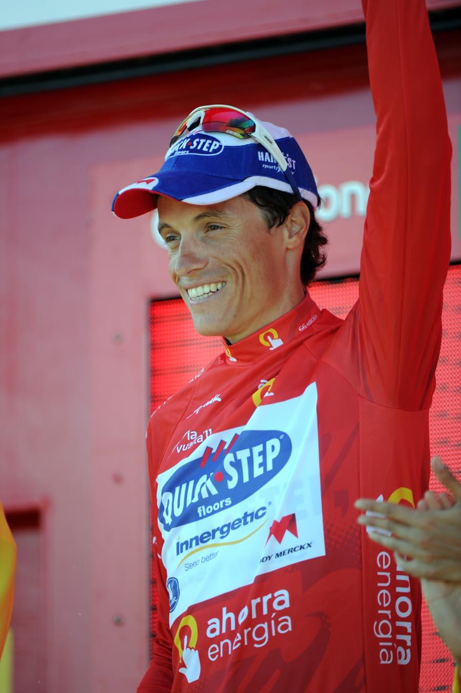 Sylvain Chavanel on podium, Vuelta a Espana 2011, stage seven