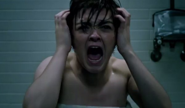 Maisie Williams as Wolfsbane screaming in the shower in New Mutants