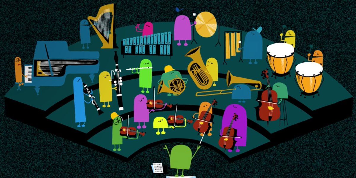 The StoryBots forming an orchestra in Ask the StoryBots