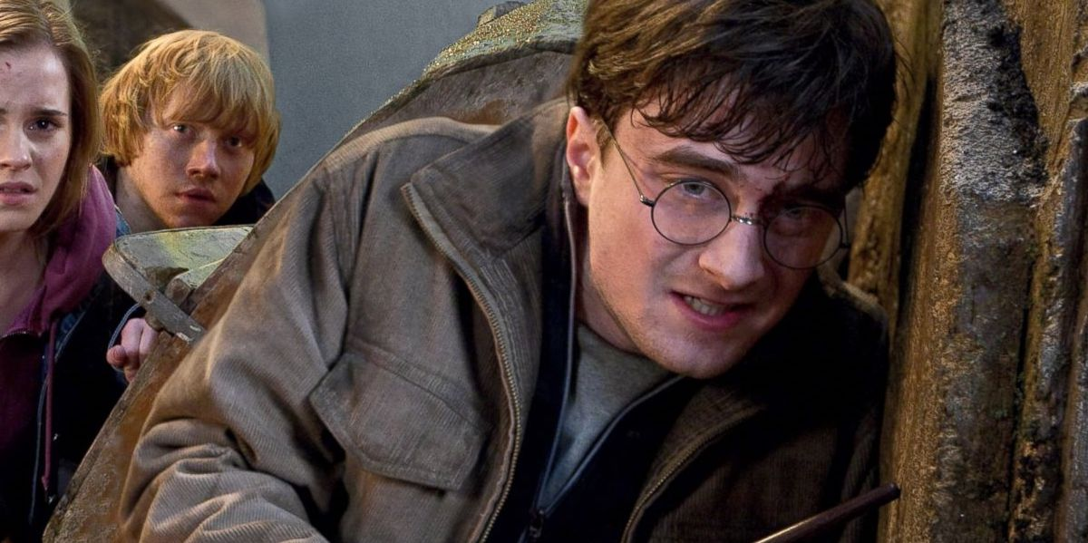 Daniel Radcliffe in Harry Potter with glasses on