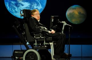 Stephen Hawking, of the University of Cambridge, delivers a speech about why humanity should go into space on April 21, 2008, at George Washington University.