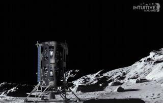 Artist's illustration of Intuitive Machines' Nova-C lander on the moon.