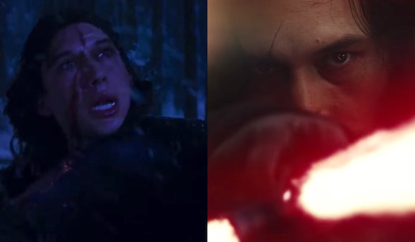 Kylo Ren scar comparisons in The Force Awakens and The Last Jedi