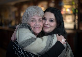 TV tonight: Searcher Lisa Phillips (right) and her found birth mother Sue (left) on their reunion day.