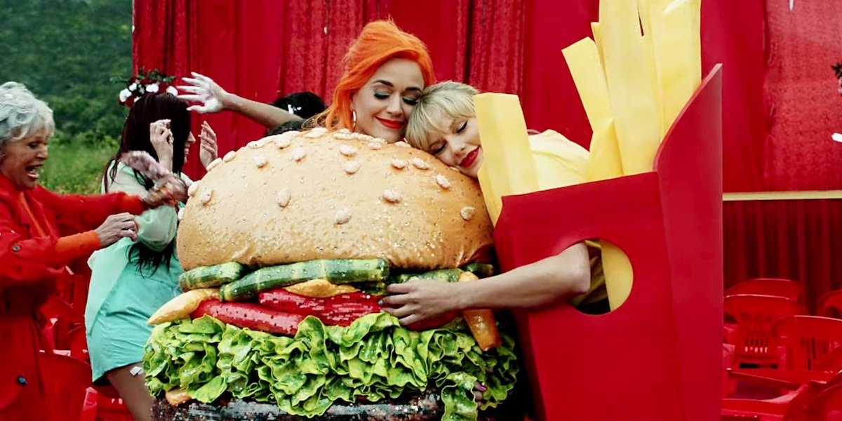 Katy Perry and Taylor Swift as hamburger and fries in You Need To Calm Down music video